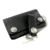 Amigaz Black Leather Biker Chain Wallet  With Buffalo snaps and belt l